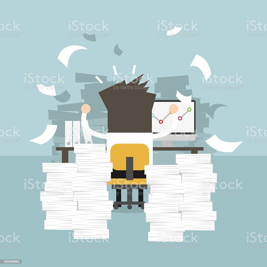 Businessman very busy on office table. work hard concept. vector art illustration