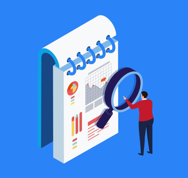 Businessman viewing data with magnifying glass Businessman viewing data with magnifying glass budget patterns stock illustrations