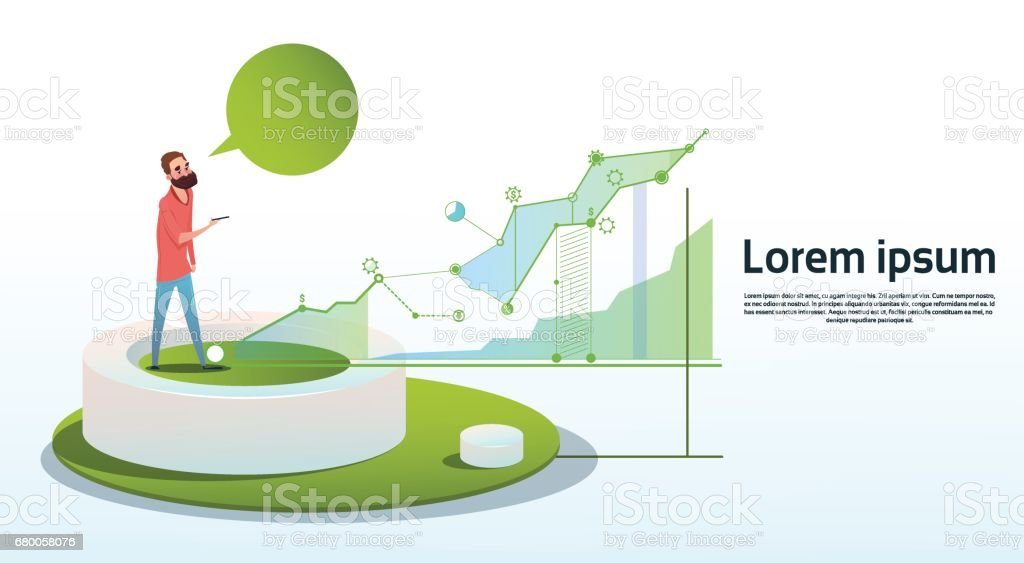Geschäftsmann Visualisierung Analyse Finance Graph Finanzgeschäfte Diagramm Textfreiraum – Vektorgrafik