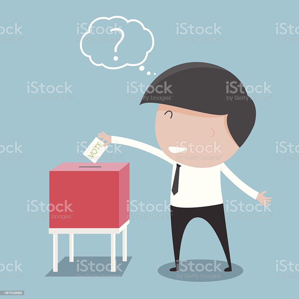 ビジネスマンに投票用紙ボックスをクリックします ベクトル