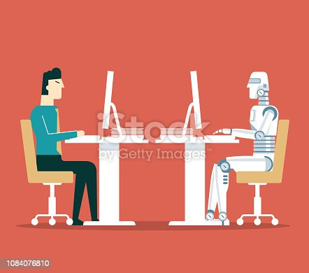Human and Droid Competition at Office. Robotic Character Worker Future Evolution.