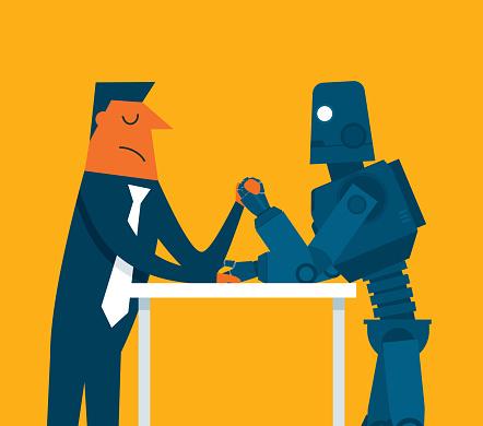 businessman vs robot