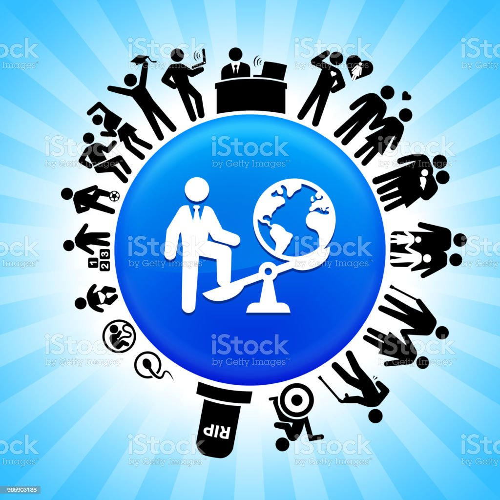 Businessman Vs. World Lifecycle Stages of Life Background - Royalty-free Adolescence stock vector