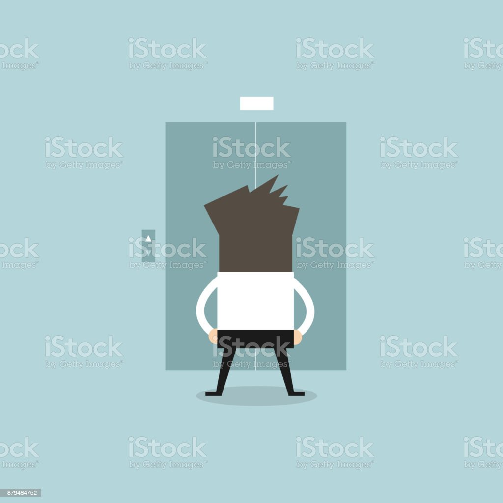 Businessman waiting for the elevator. vector art illustration