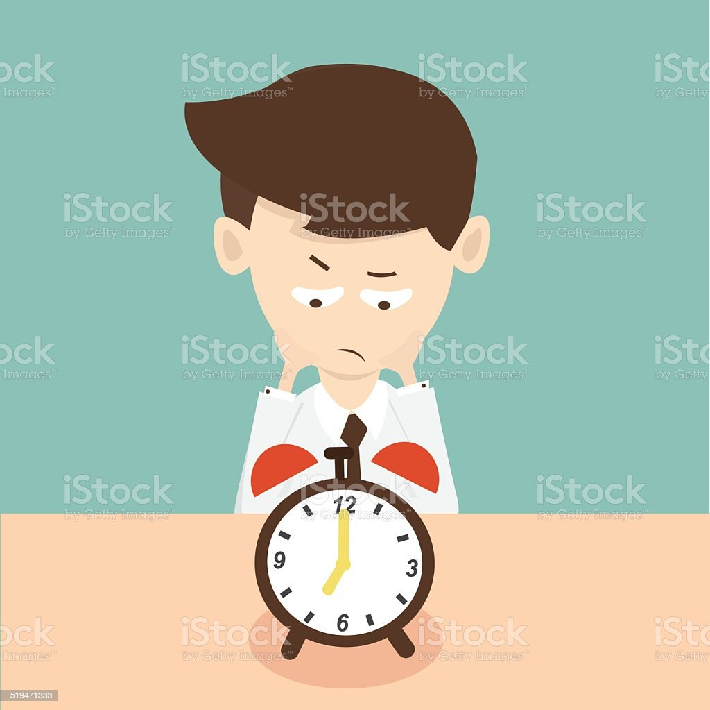 businessman waiting  time and looking at a clock vector art illustration