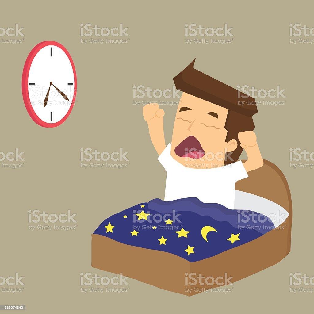 Businessman wake up early vector art illustration