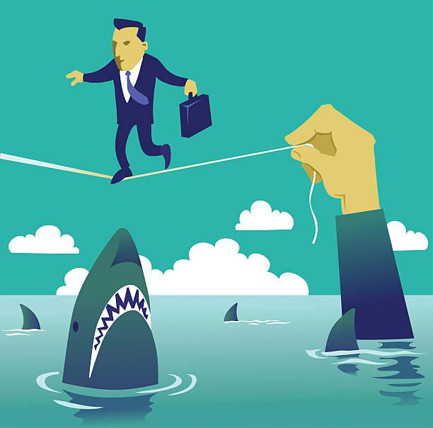 geschäftsmann aufwachen die hochseil - haifischköder stock-grafiken, -clipart, -cartoons und -symbole