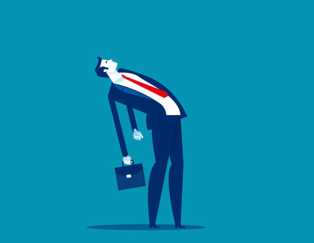 Businessman walk leaning back. Office people concept. Flat cartoon style design. vector art illustration