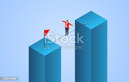 Businessman walking a tightrope to reach the finish line, business risks, challenges and adventures