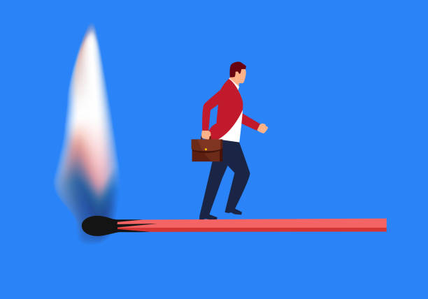 불타는 성 냥 위에 걷고 사업가 - burnout stock illustrations