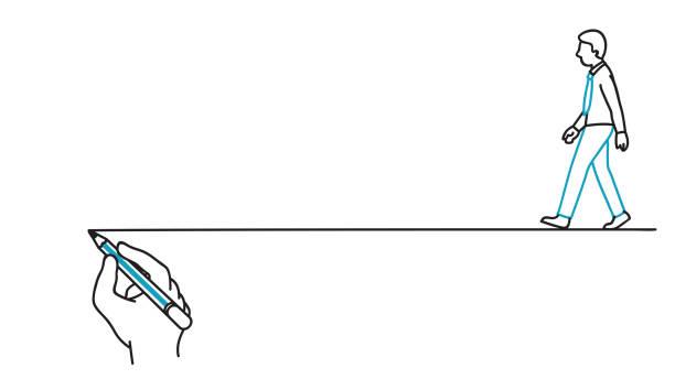 geschäftsmann folgenden leitfaden lauflinie - anleitung konzepte stock-grafiken, -clipart, -cartoons und -symbole