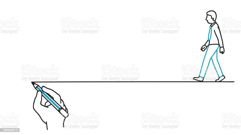 Ligne de guide suivant foulée homme d'affaires - Illustration vectorielle