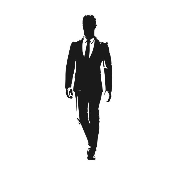 Businessman walking in suit, isolated vector silhouette. front view Businessman walking in suit, isolated vector silhouette. front view suit stock illustrations