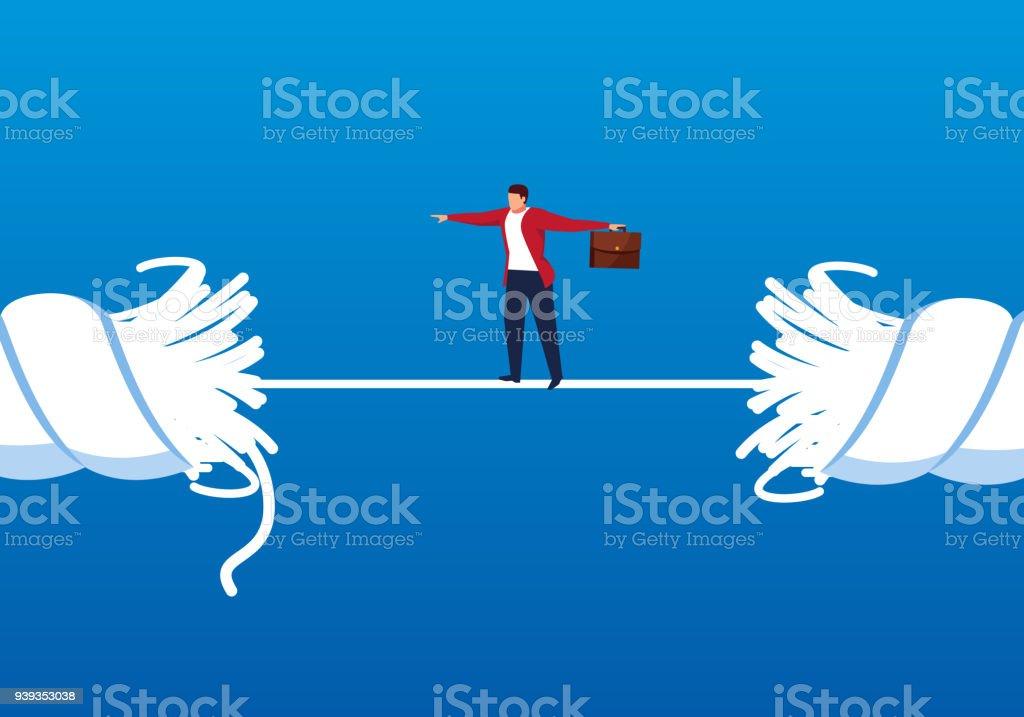 商人走在繩子, 即將打破向量藝術插圖