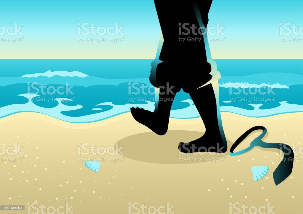 Geschäftsmann zu Fuß am Strand – Vektorgrafik