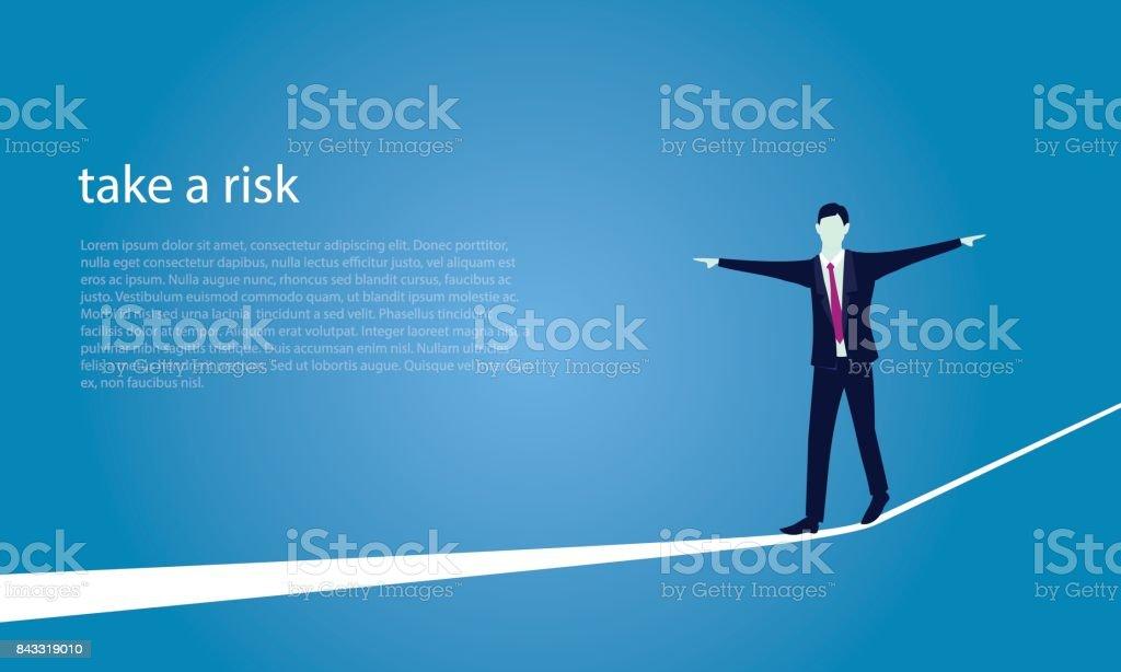 Geschäftsmann am Seil gehen. Risiko-Herausforderung im Business-Konzept – Vektorgrafik