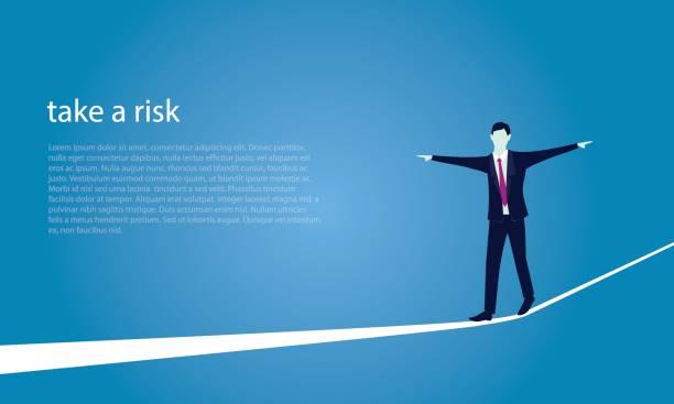 geschäftsmann am seil gehen. risiko-herausforderung im business-konzept - strickideen stock-grafiken, -clipart, -cartoons und -symbole