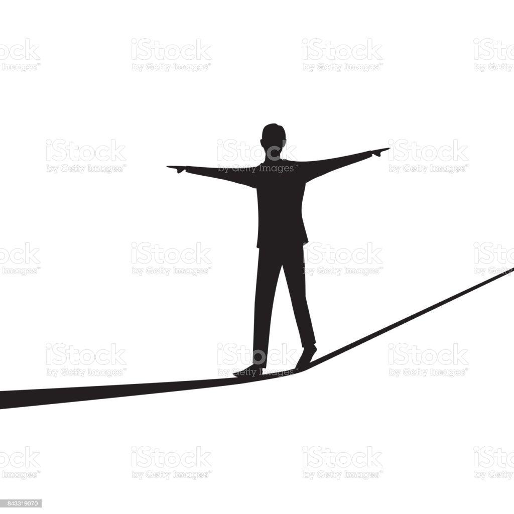 商人在繩上行走。經營理念風險挑戰向量藝術插圖