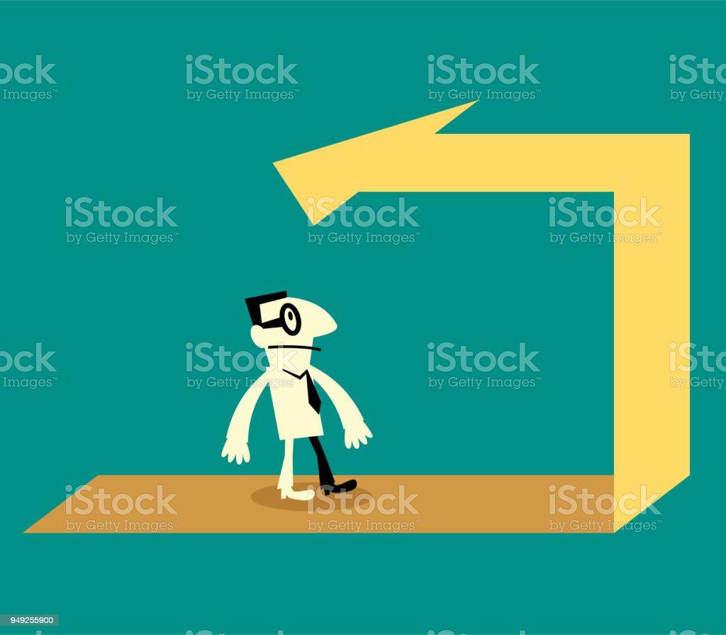 Businessman walking on the back arrow way vector art illustration