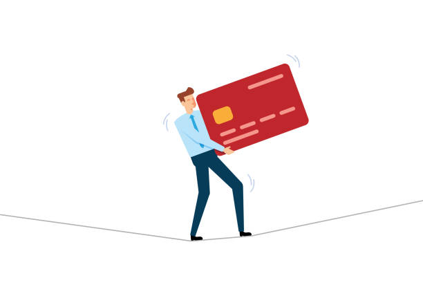Businessman Walking On Tightrope Concept Businessman Walking On Tightrope Concept debt stock illustrations