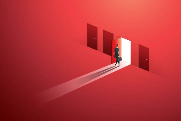 Businessman walking open door of choice path to goal success on wall red. illustration Vector Businessman walking open door of choice path to goal success on wall red. illustration Vector door stock illustrations
