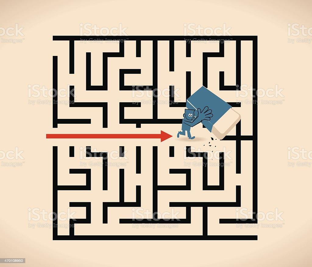 Businessman walking through a maze opened up by a eraser vector art illustration
