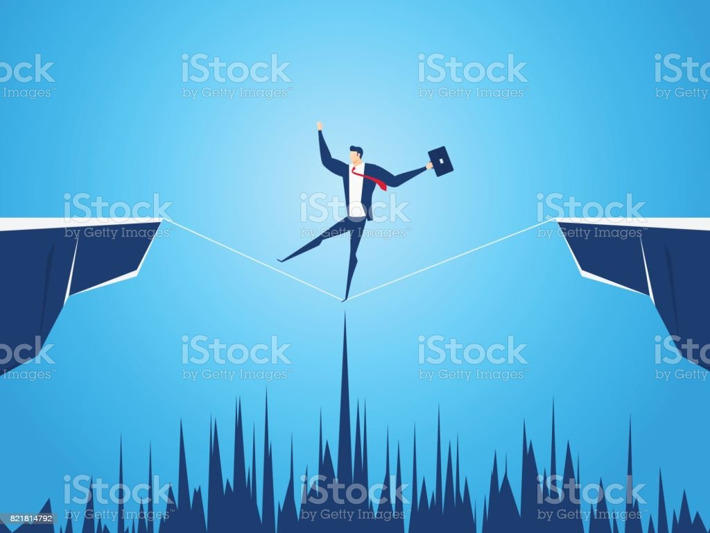 山間隔閡走鋼絲的商人。走在懸崖上。業務風險和成功的概念。向量藝術插圖
