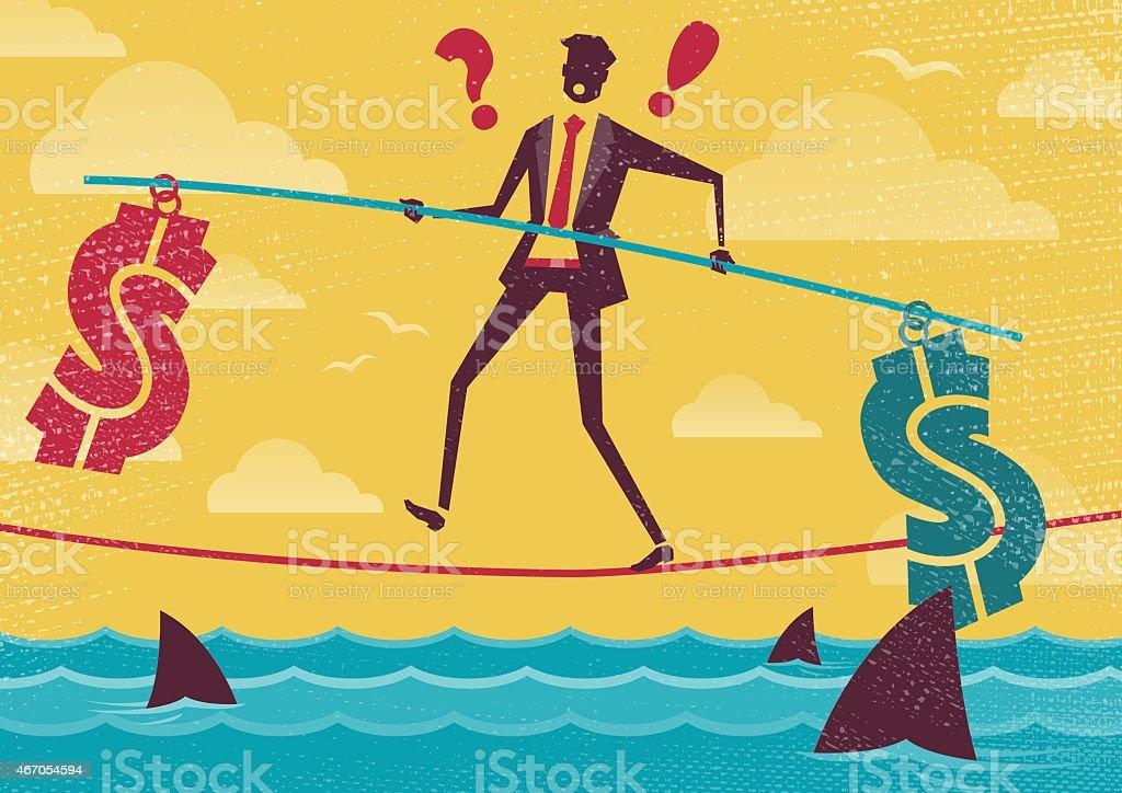 Businessman walks the Financial Tightrope.向量藝術插圖