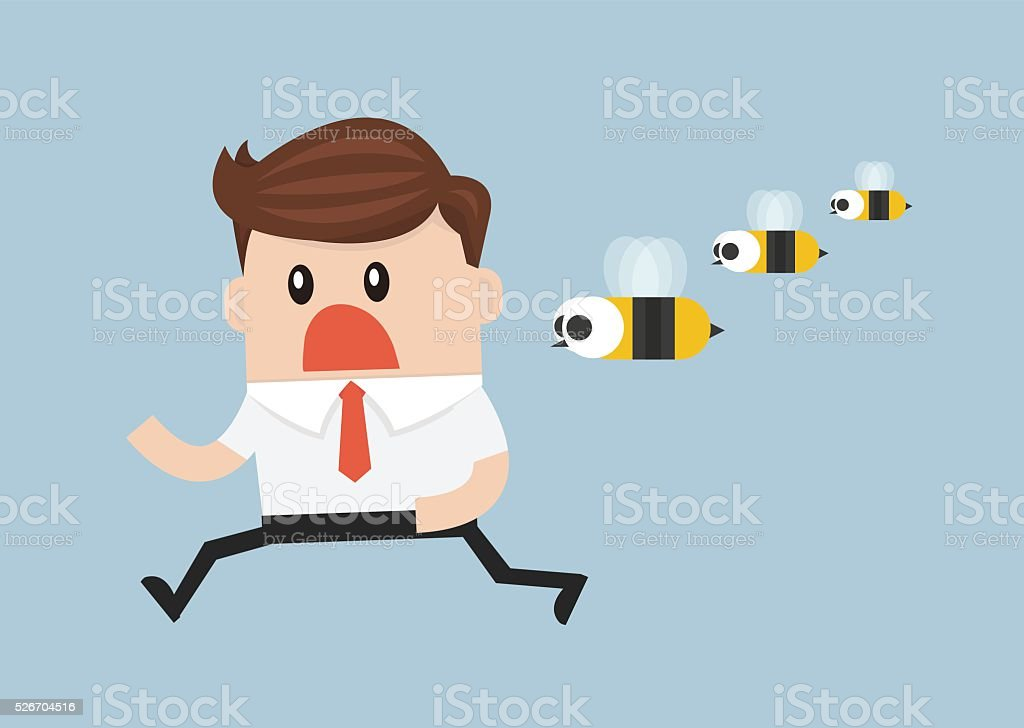 businessman was attacked by swarm of angry wild bees vector art illustration