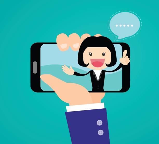 illustrations, cliparts, dessins animés et icônes de rapport de journaliste vidéo de watch homme d'affaires sur les affaires de succès sur téléphone mobile - interview