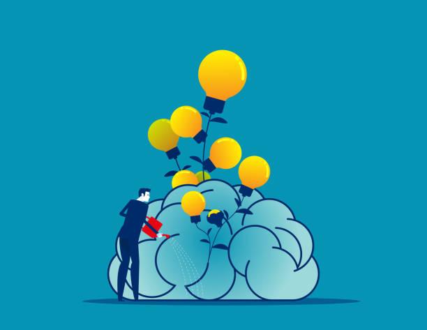 Businessman water the plants big brain for growth mindset vector art illustration