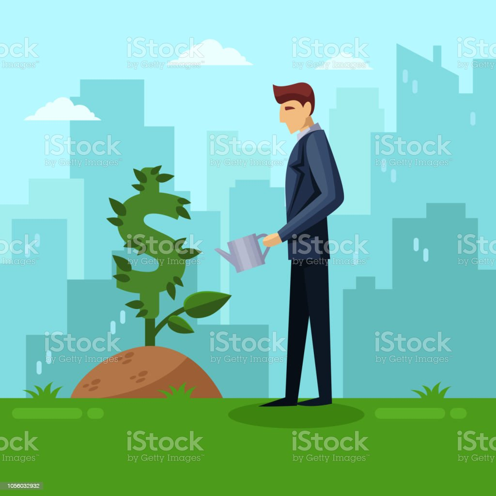 Businessman watering green dollar plant. Investment and finance...