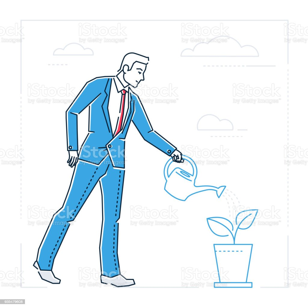 Businessman Watering The Plant Line Design Style Isolated