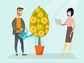 Caucasian man watering tree with bitcoin coins and young woman holding laptop. Investment and profit in blockchain network technology, ICO initial coin offering concept. Vector cartoon illustration.