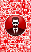 Businessman Wearing 3D Glasses and Virtual Reality Experience Icon Set. This royalty free vector image features a virtual reality and 3D glasses illustratration. The roaylty free vector images is a conceptual representation of the virtual world with the technology icon patter featured in the background.