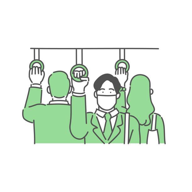 マスクを着用し、通勤するビジネスマン - マスク 日本人点のイラスト素材/クリップアート素材/マンガ素材/アイコン素材