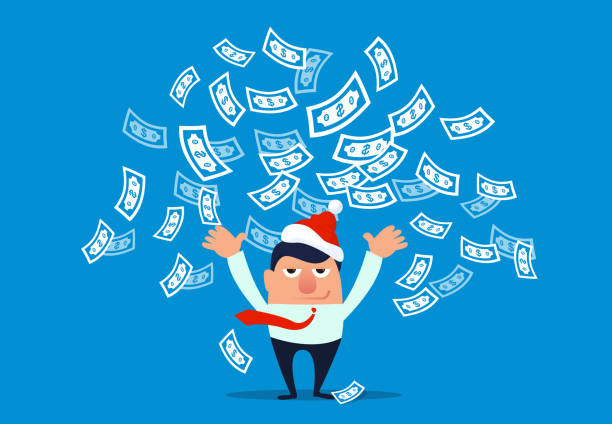 Businessman wearing christmas hat and throwing money Businessman wearing christmas hat and throwing money millionnaire stock illustrations