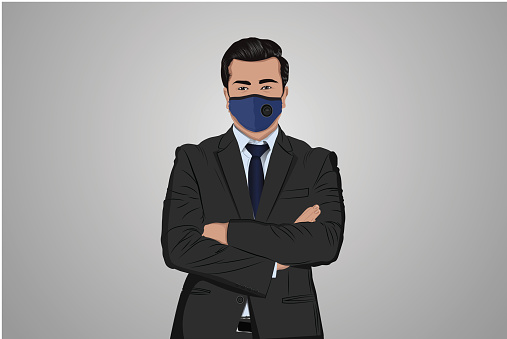 Businessman wearing protective face mask to prevent from virus disease