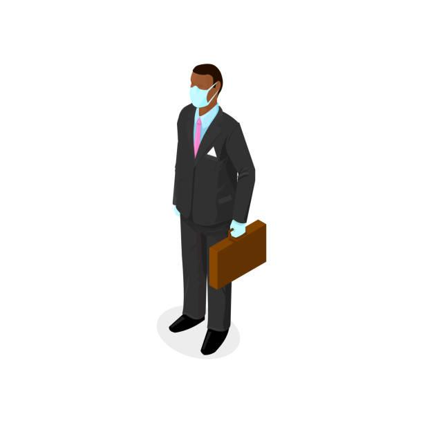 illustrazioni stock, clip art, cartoni animati e icone di tendenza di businessman wearing virus protection medical face mask and rubber gloves - covid 19 outbreak - isometric icon vector illustration. - businessman covid mask
