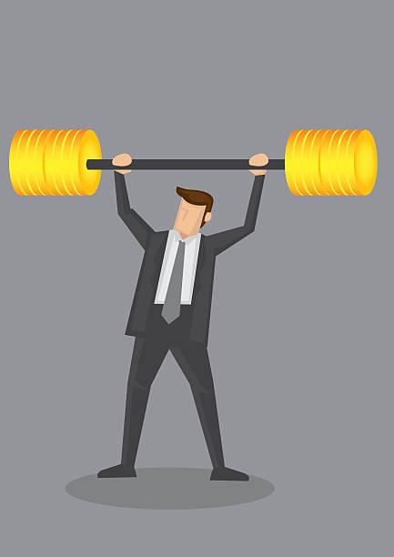 ilustrações de stock, clip art, desenhos animados e ícones de homem de negócios com haltere de peso elevação de ouro vector conceitual - enjoying wealthy life