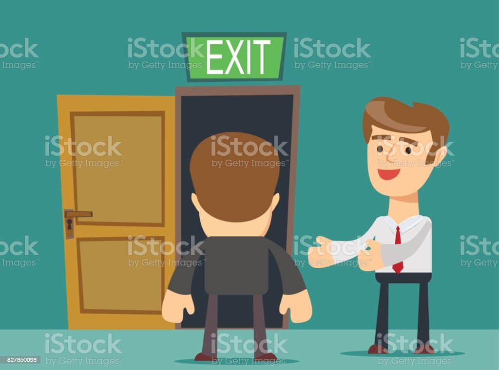 businessman welcomes you to come to his home vector art illustration