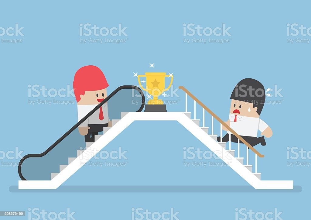 Businessman who use escalator to success and his rival climbing vector art illustration