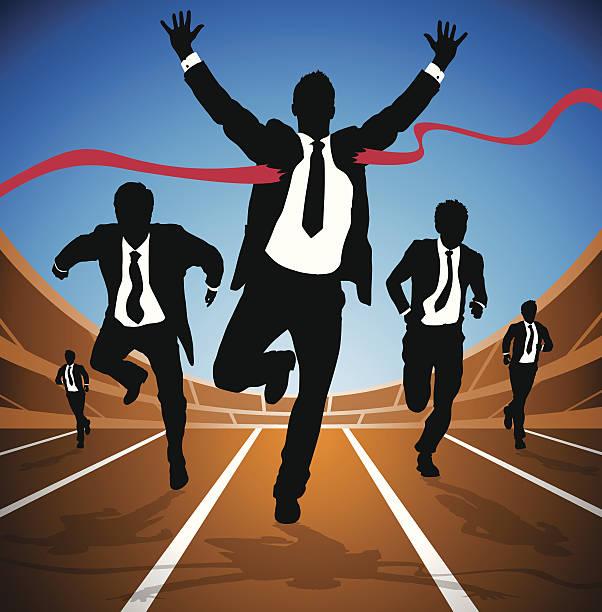 Businessman wins the Race vector art illustration