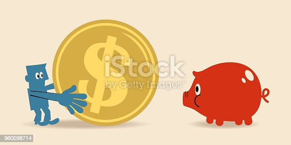 istock Businessman with a big dollar sign coin currency and a small piggy bank 960098714