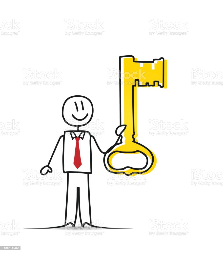 Businessman with a Big Key royalty-free businessman with a big key stock vector art & more images of adult