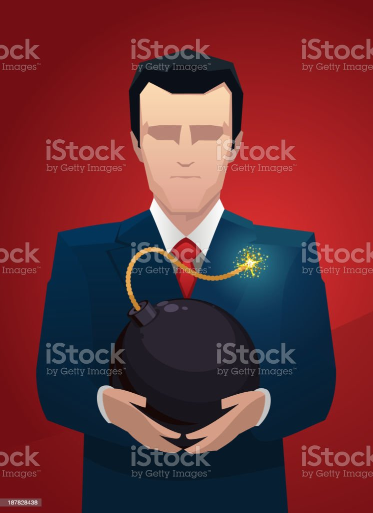 Businessman with a bomb between hands royalty-free stock vector art