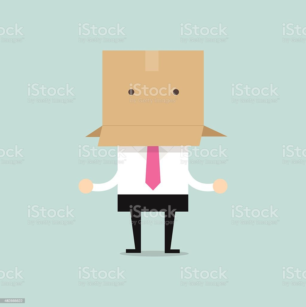 Businessman with a cardboard box on his head vector art illustration