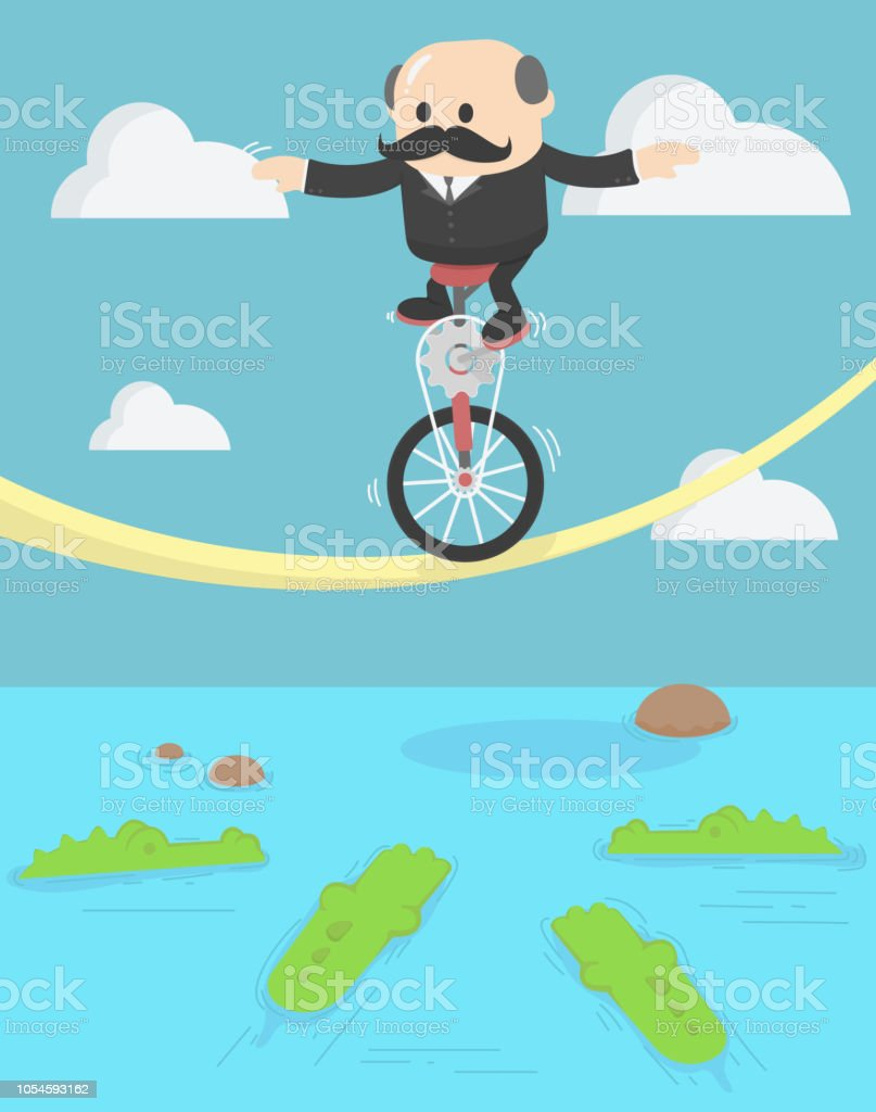 Businessman with a crocodile Businessman desperately trying to stop himself from falling vector art illustration