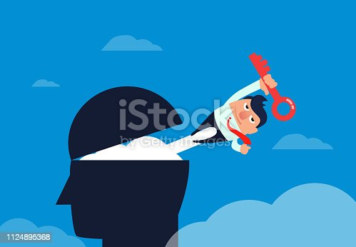 Businessman with a key flying out of the brain