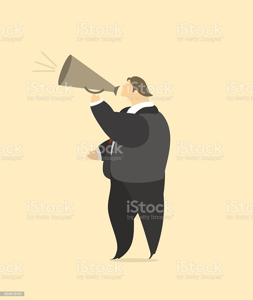 Businessman with a megaphone vector art illustration